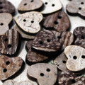 10 Coconut Shell Buttons - Hearts - 18mm