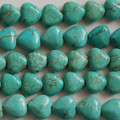 10 Semi Precious Gemstone Turquoise Howlite Heart Beads 12mm x12mm