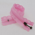 20cm Floral Lace Closed End Zip Zipper - Pink