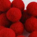 100% Wool Felt Balls - 10 Count - 2cm - Red