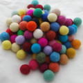 100% Wool Felt Balls - 100 Count - 2cm - Assorted Colours