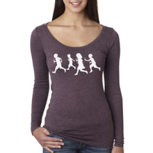 Running With Scissors on long sleeve tri-blend scoop neck shirt for women.