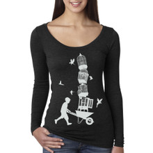 Lifted long sleeve women's long sleeve tri-blend scoop neck shirt.