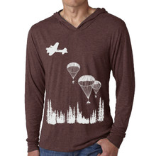 deer, parachute, WW2, forest, trees, nature, replenish, hoody, long sleeve, hoodie, unisex, screen print, silk screen, san diego, vintage, tri-blend, circles and squares, silhouette, play, boy, girl, metaphor, swing, David Cuzick