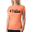 SHY on women's light orange tri-blend with black ink