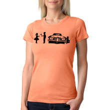 SHY on women's light orange tri-blend with black ink