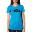 SHY on women's vintage turquoise tri-blend with black ink