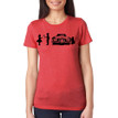 SHY on women's vintage red tri-blend with black ink