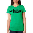 SHY on women's vintage green tri-blend with black ink