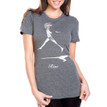 RISE on women's heater grey tri-blend with white ink
