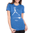 RISE on women's royal blue tri-blend with white ink