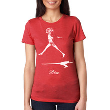 RISE on women's vintage red tri-blend with white ink