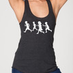 RUNNING WITH SCISSORS on vintage black Next Level tri-blend racer back tank with white ink