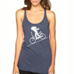 FASTER FASTER on indigo Next Level tri-blend racer back tank with white ink