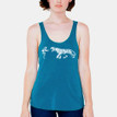 FIERCE on teal Bella tri-blend racer back tank with white ink