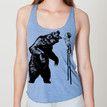 FIERCE STILTS on blue Bella tri-blend racer back tank with black ink