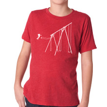 JUMP on vintage red tri-blend for kids