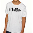 SHY on heather white kids tri-blend shirt