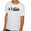 SHY on heather white kids tri-blend shirt