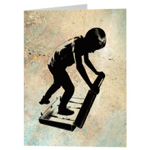 DESTINATION -greeting card - boy traveler