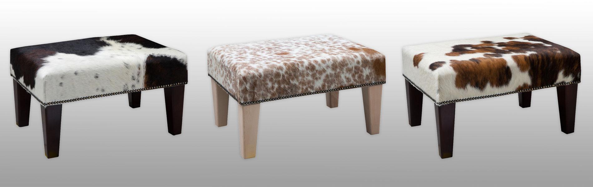 Cowhide footstools