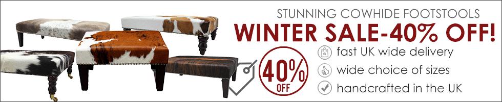 Cowhide Footstool Winter Sale