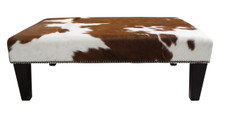 Brown and white Cowhide Footstool 3ft x 2ft FST179