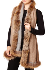 Reversible Cashmere & Wool Mix Wrap with Raccoon Fur Trim in Light Grey & Biscuit