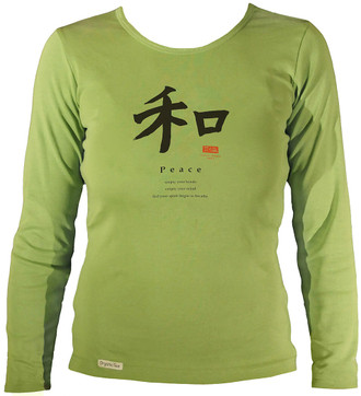 Women's Organic Cotton Long Sleeve Calligraphy