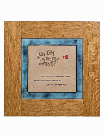 Fish Design Solid Oak Craftsman Style Frame Tiles