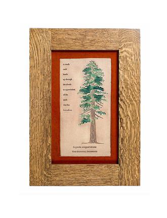 Tree Design Solid Oak Craftsman Style Frame Tiles