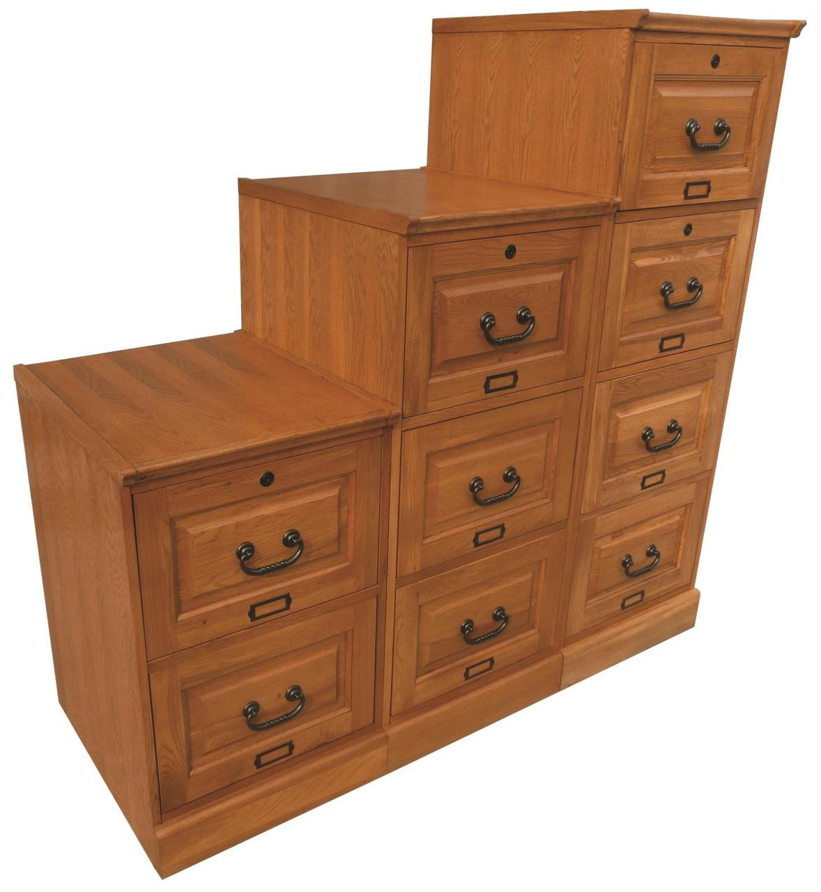 Oak two drawer oak file cabinet antique harvest for Solid wood cabinets