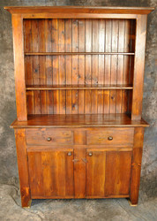 Reclaimed Wood Stepback Hutch Flat Panel Door