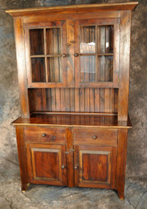 Reclaimed Wood Stepback Hutch with Glass Doors