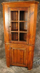 Reclaimed Wood Corner Hutch Glass Doors