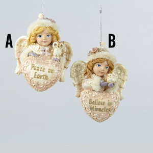 Angel With Heart Ornaments