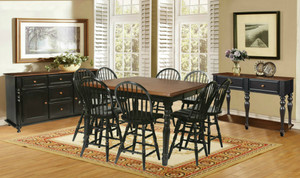 Danielson Pub Gathering Table  with 4 Windsor Stools Solid Wood