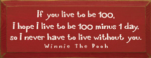 If You Live To Be 100, I Hope I Live To Be 100 Minus 1 Day...  Wood Sign