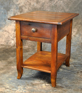 French Leg End Table With Drawer & Shelf