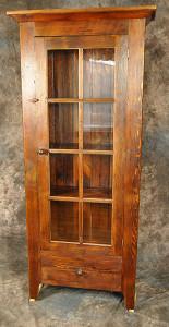8 Pane Glass Door Cupboard with Drawer