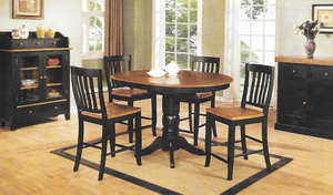 "Chatham Pedestal Pub Table With 4 Slat Back 24"" Barstools"