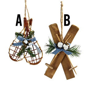 Skis/Snowshoes With Greenery Ornaments