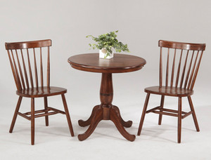 "30"" Round Bistro Table with Curved Back Chairs DARK CHESTNUT"
