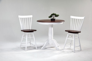 """White & Cherry 36"""" Pub Table with 2 swivel stools Small pub table for small spaces"""