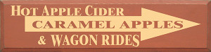 Hot Apple Cider Carmel Apple And Wagon Rides Wood Sign