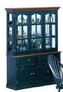 "55"" Mirrored Back Traditional Hutch Black and Cherry Danielson Collection"