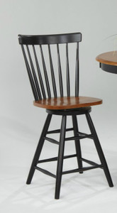 "Solid Wood Curved Back Swivel 24"" Barstool Black & Cherry"