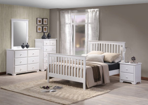 White Painted  Mission Bedroom Set Solid Birch