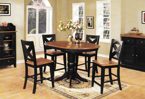 """Chatham Pedestal Pub Table With Four X Back 24"""" Barstools"""