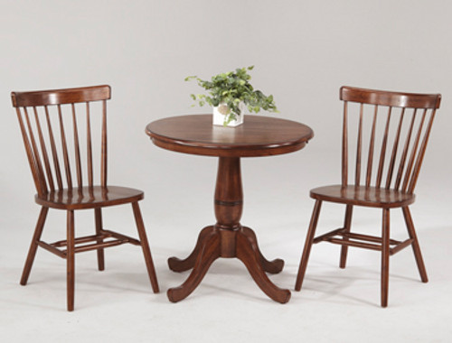 """30"""" Round Bistro Table with Curved Back Chairs DARK CHESTNUT"""